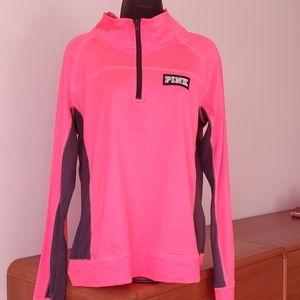 Hot pink VS PINK ultimate half zip pullover Sz L